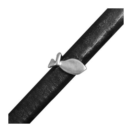 Μεταλλική Ζάμακ Χυτή Χάντρα Ψάρι Περαστό 7,2x16,5mm (Ø 7x10mm) (για Δέρμα Regaliz)