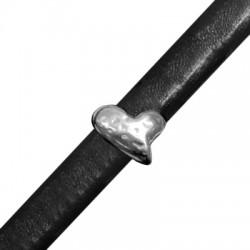 Μεταλλική Ζάμακ Χυτή Χάντρα Καρδιά Περαστή 11,5x15mm (Ø 7x10mm) (για Δέρμα Regaliz)
