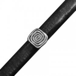 Passante in Zama Quadrato Spirale per Cuoio Regaliz 12x13.5mm (Ø7x10mm)