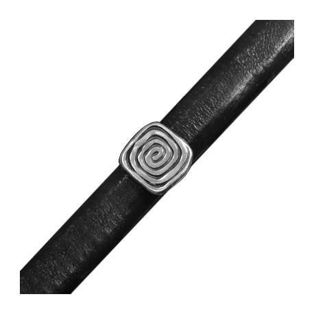 Μεταλλική Ζάμακ Χυτή Χάντρα Σπείρα Τετράγωνη Περαστή 12x13,5mm (Ø 7x10mm) (για Δέρμα Regaliz)