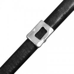 Μεταλλική Ζάμακ Χυτή Χάντρα Ορθογώνιο Περαστό 14x19,5mm (Ø 7x10mm) (για Δέρμα Regaliz)