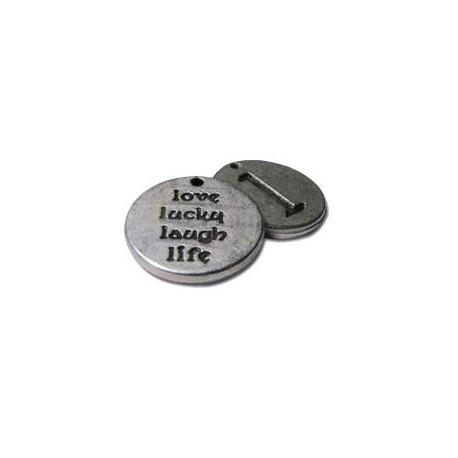 Μεταλλικό Ζάμακ Χυτό Μοτίφ Στρογγυλό με Λέξεις 'L' 16mm