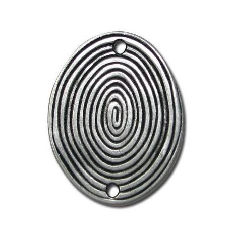 Intercalaire Spirale Ovale en Métal/Zamac, 35x43mm