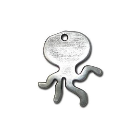Pendentif Pieuvre en Métal/Zamac, 30x25mm