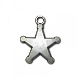Zamak Charm Sheriff Star 22mm