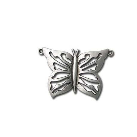 Pendentif Papillon en Métal/Zamac, 29x48mm
