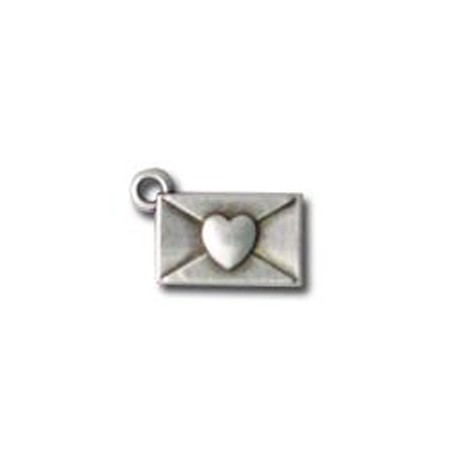 Zamak Charm Envelope with Heart 17x9mm