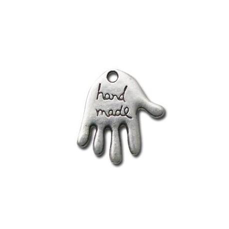 Breloque Main logo 'Hand Made' en Métal/Zamac, 17x20mm