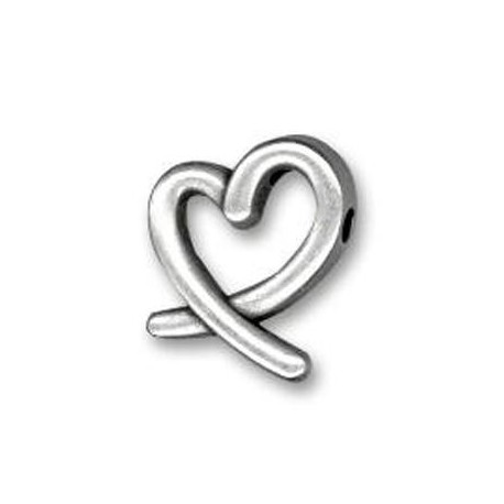 Passant Cœur en Métal/Zamac, 17x14mm