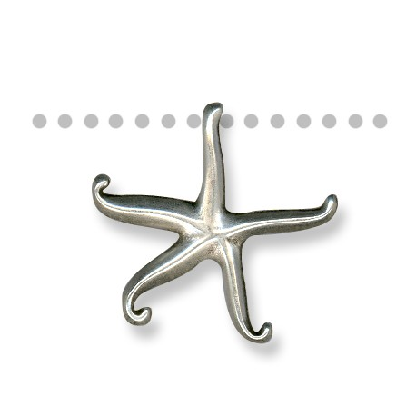 Pendentif Étoile de Mer en Métal/Zamac, 34x35.5mm