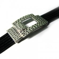 Fermoir Crochet Rectangulaire en Métal/Zamac, 49x25mm (Ø 2.8x16mm)