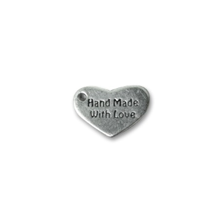 Zamak Charm Logo Heart Hand Made 15x10mm