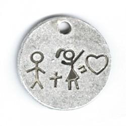 Μεταλλικό Ζάμακ Χυτό Μοτίφ Αγόρι και Κορίτσι Στρογγυλό 25mm