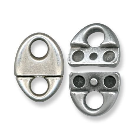 Fermoir Aimanté Ovale en Métal/Zamac, 22x30mm