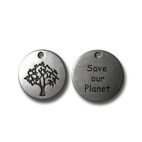 Breloque 'Save Our Planet' en Métal/Zamac, 20mm