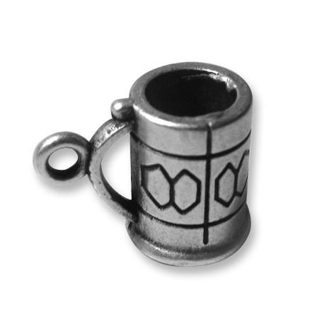 Breloque Verre de Bière en Métal/Zamac, 13x12mm