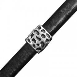 Zamak Slider Tube for Regaliz Leather 15x11x14mm (Ø 10x7mm)