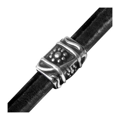 Passante in Zama Tubo Decorato per Cuoio Regaliz 20x13x15mm (Ø 10x7mm)