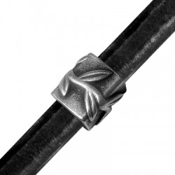Passante in Zama Tubo Decorato per Cuoio Regaliz 15x12x14mm (Ø 10x7mm)
