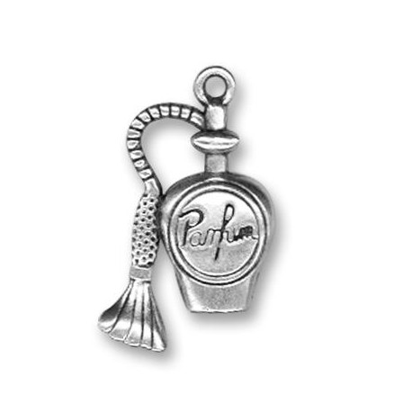 Breloque Parfum Français en Métal/Zamac, 14x28mm