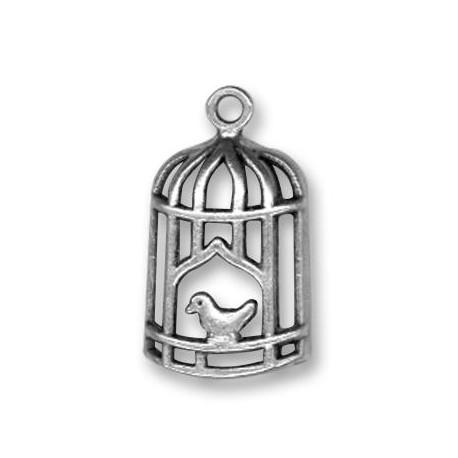 Breloque Cage d'Oiseau en Métal/Zamac, 13x26mm