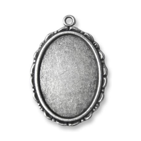 Pendentif Cadre Ovale en Métal/Zamac, 25x33mm (dim. Intér. 18x26mm)