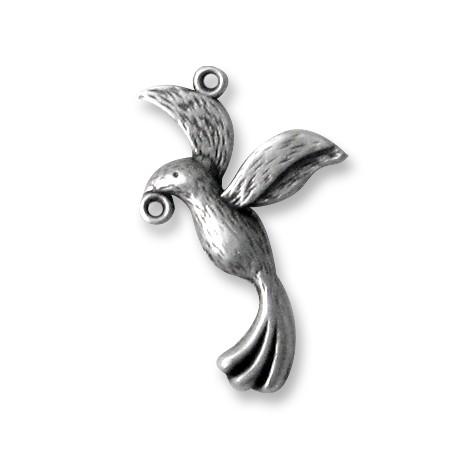 Breloque Oiseau en Métal/Zamac, 19x30mm