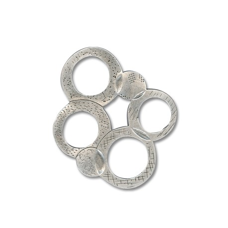 Pendentif Cercles en Métal/Zamac, 70x75mm