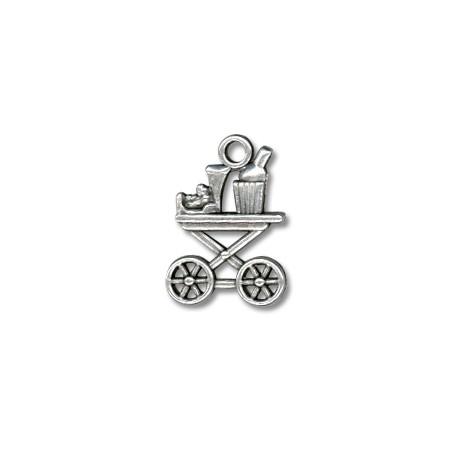 Breloque Chariot à Boissons en Métal/Zamac, 15x22mm