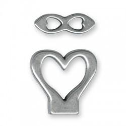 Ζάμακ Χυτό Κούμπωμα Καρδιά Σετ 27mm (Ø10.2x2.2mm)