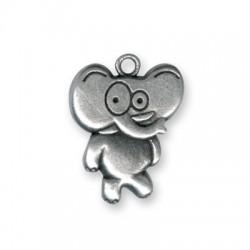 Breloque Drôle Éléphant en Métal/Zamac, 24x30mm