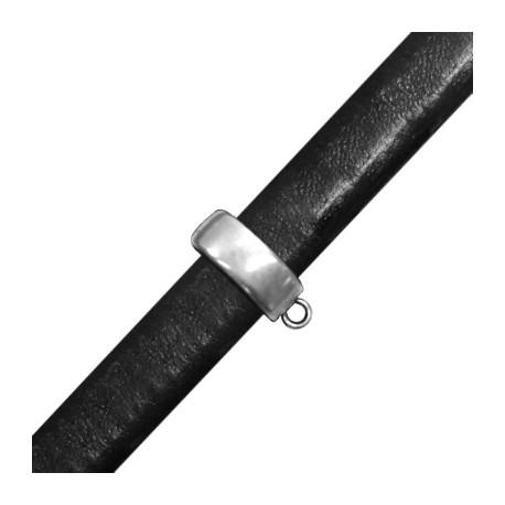 Passant Regaliz avec Anneau en Métal/Zamac pour Cuir Regaliz, 14.5x10mm
