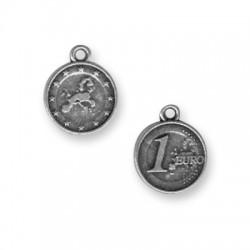 Zamak Charm Coin One Euro 15mm