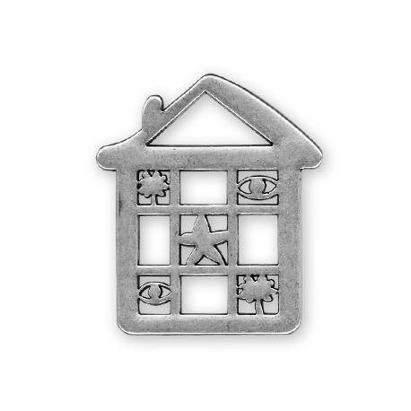 Pendentif Maison en Métal/Zamac, 55x63mm
