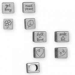Μεταλλικό Ζάμακ Χυτό Στοιχείο Περαστό Κύβος 4 Σχέδια 15x12x13mm (Ø 10x7mm) (για Δέρμα Regaliz)