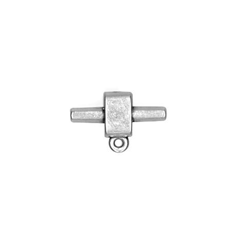 Intercalaire Embout avec Anneau pour Cordon PVC Regaliz en Métal/Zamac, 22x14/3.4x4.0mm