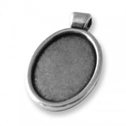 Μεταλλικό Ζάμακ Χυτό Στοιχείο Κορνίζα Οβάλ Βάση 13x18mm (εσωτ.διάμετρος 13x18mm)