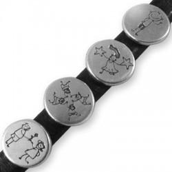 Zamak Slider Children Figures 4 Mixed for Regaliz Leather 15mm (Ø 10x7mm)