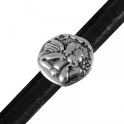 Zamak Slider Round Cupid for Regaliz Leather 25mm (Ø 10x7mm)