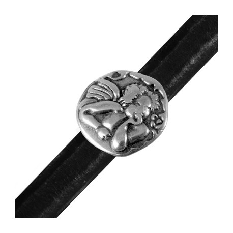 Passant Cupidon en Métal/Zamac pour Cuir Regaliz, 25mm (Ø 7x10mm)