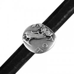 Zamak Slider Round Wisdom Owl for Regaliz Leather 19mm (Ø 10x7mm)