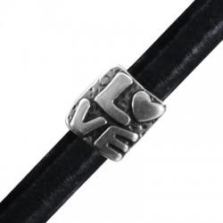 Zamak Slider Love for Regaliz Leather 15x16mm (Ø 10x7mm)