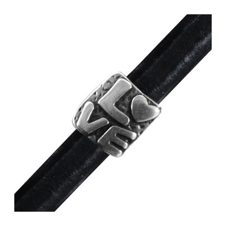 Passante in Zama Scritta LOVE per Cuoio Regaliz 15x16mm (Ø 10x7mm)