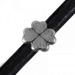 Zamak Slider Four Leaf Clover for Regaliz Leather 20mm (Ø 10x7mm)