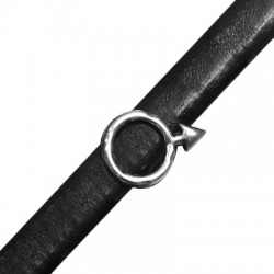 Zamak Slider Masculine Symbol for Regaliz Leather 14x20mm (Ø 10x7mm)
