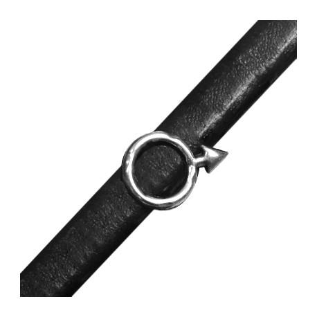 Passante in Zama Simbolo di Marte per Cuoio Regaliz 14x20mm (Ø 10x7mm)