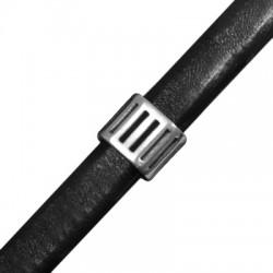 Μεταλλικό Ζάμακ Χυτό Στοιχείο Περαστό Οβάλ με Γραμμές 11x13x10mm (Ø 10x7mm) για Δέρμα Regaliz