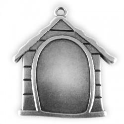 Zamak Pendant Dog House 40x40mm