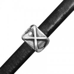 Μεταλλικό Ζάμακ Χυτό Στοιχείο Περαστό Κύβος 'X' 17x13mm (Ø 10x7mm) για Δέρμα Regaliz