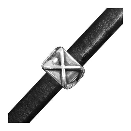 Passant Cube 'X' en Métal/Zamac pour Cuir Regaliz, 17.3x13mm (Ø 7x10mm)